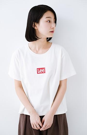 haco! 別注Lee ほどよいゆとりシルエットのボックスロゴTシャツ <ホワイト×レッド>の商品写真
