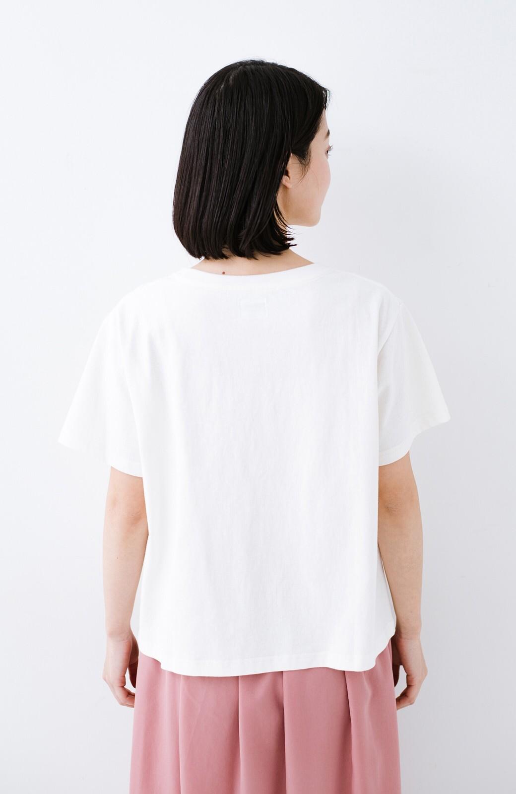 haco! 別注Lee ほどよいゆとりシルエットのボックスロゴTシャツ <ホワイト×ブラック>の商品写真10
