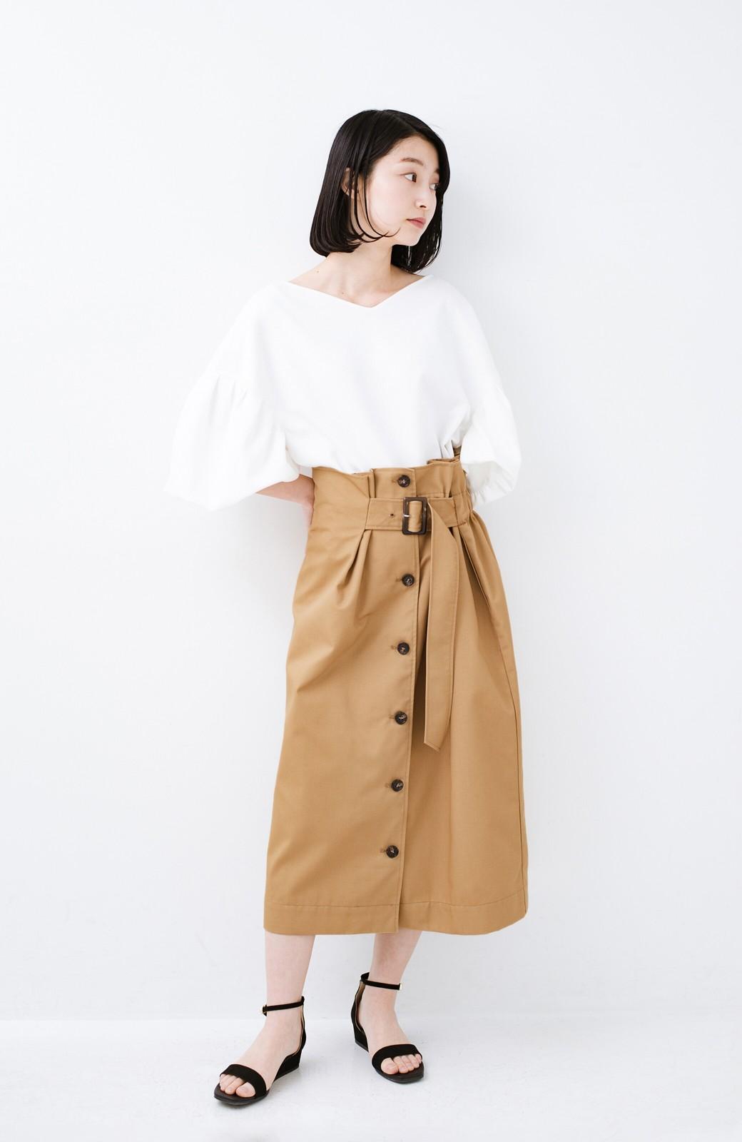 haco! シンプルトップスに合わせても素敵に見える 女っぽフレアーロングスカート <ベージュ>の商品写真8