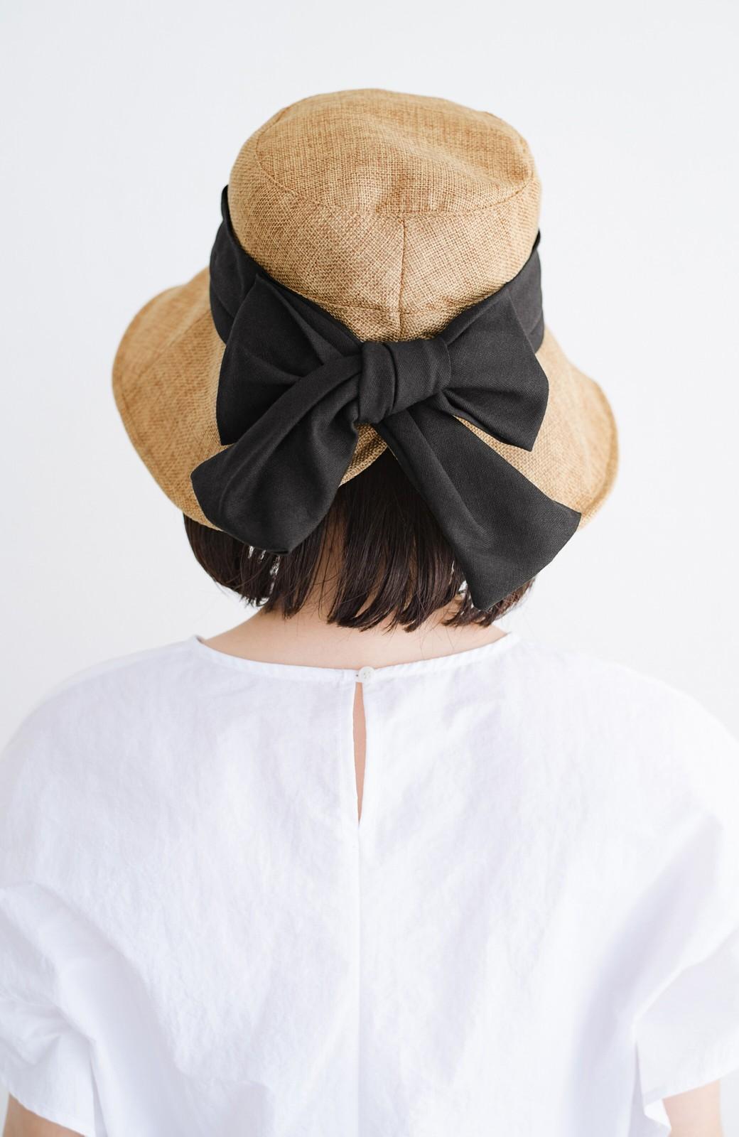 haco! 【再入荷】polka polka 折り畳めるバックリボンソフトハット  <ブラック>の商品写真1