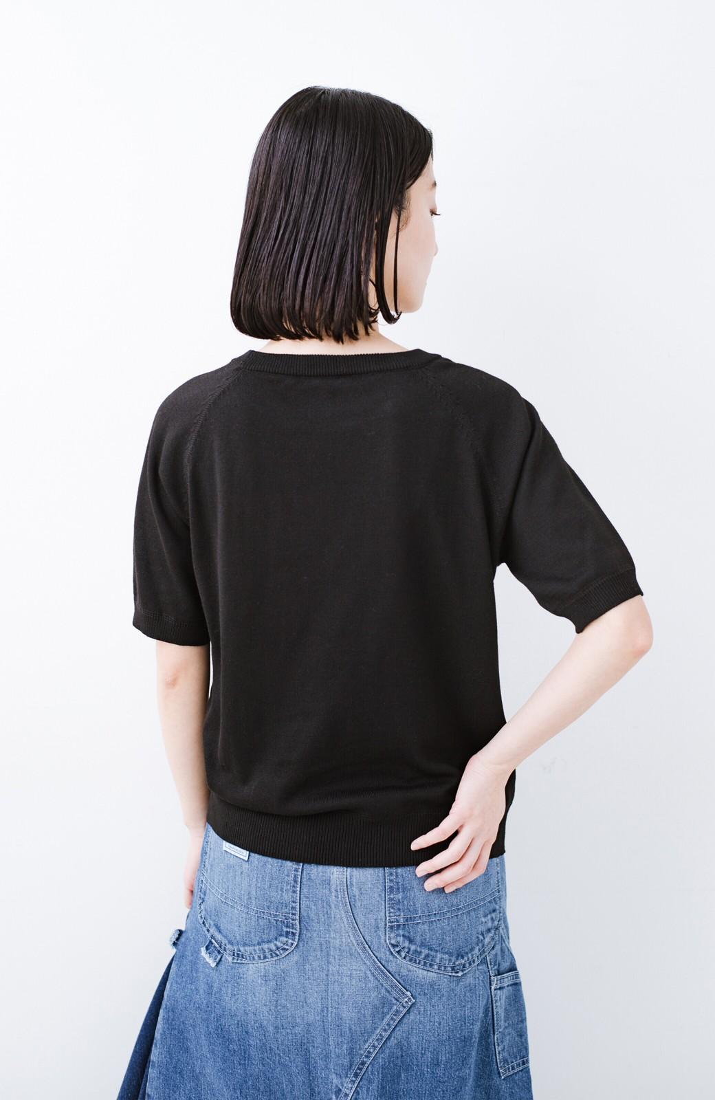 haco! 【今年も再販!】カットソーのかわりに着たい 便利な洗えるニット by que made me <ブラック>の商品写真12