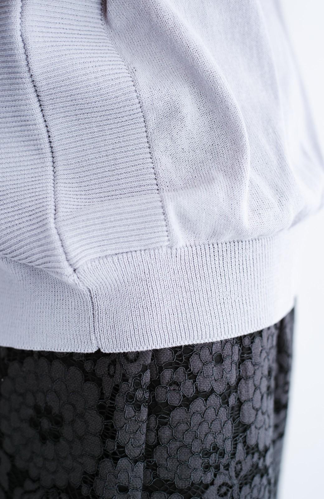 haco! カットソー感覚で着られる 洗えるオトナニットトップス by MAKORI <ライトグレー>の商品写真5