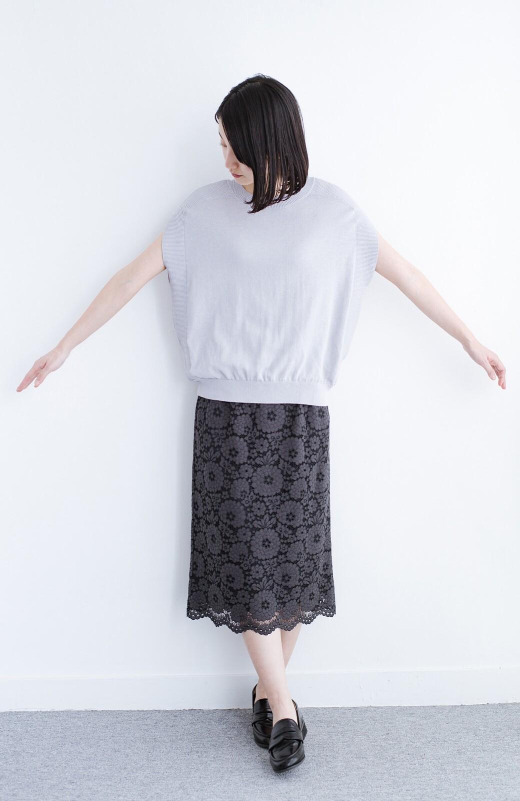 haco! カットソー感覚で着られる 洗えるオトナニットトップス by MAKORI <ライトグレー>の商品写真10