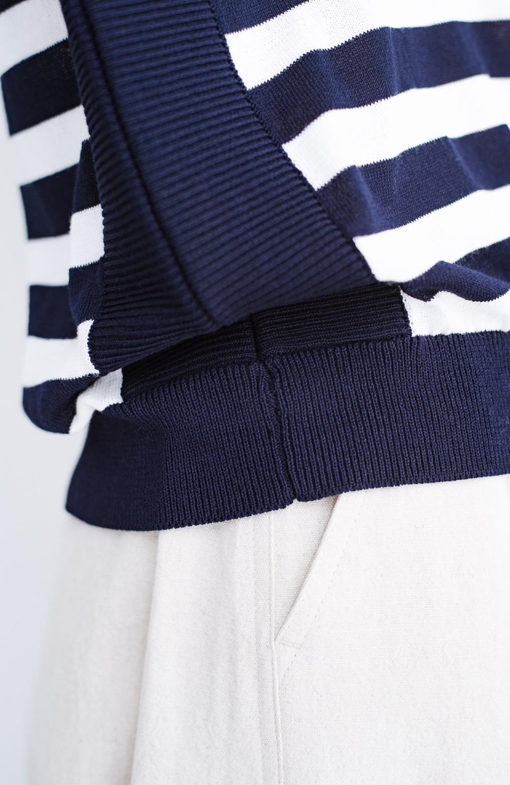 haco! カットソー感覚で着られる 洗えるオトナニットトップス by MAKORI <ブルー系その他>の商品写真6