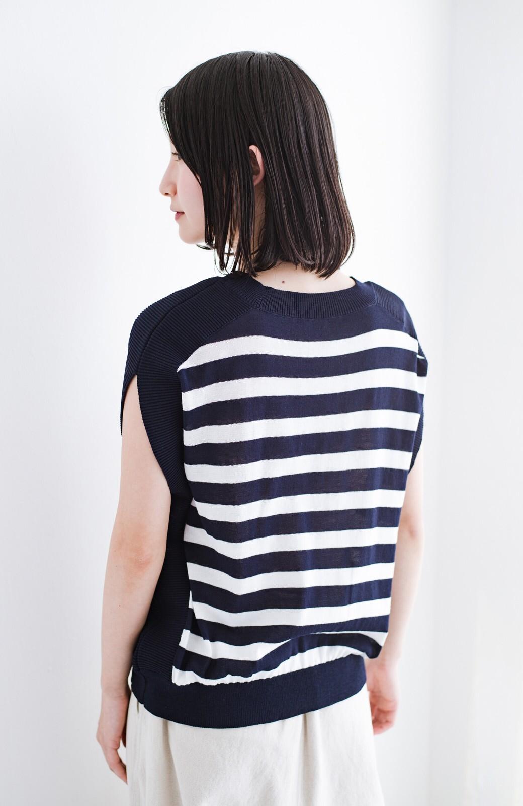 haco! カットソー感覚で着られる 洗えるオトナニットトップス by MAKORI <ブルー系その他>の商品写真15