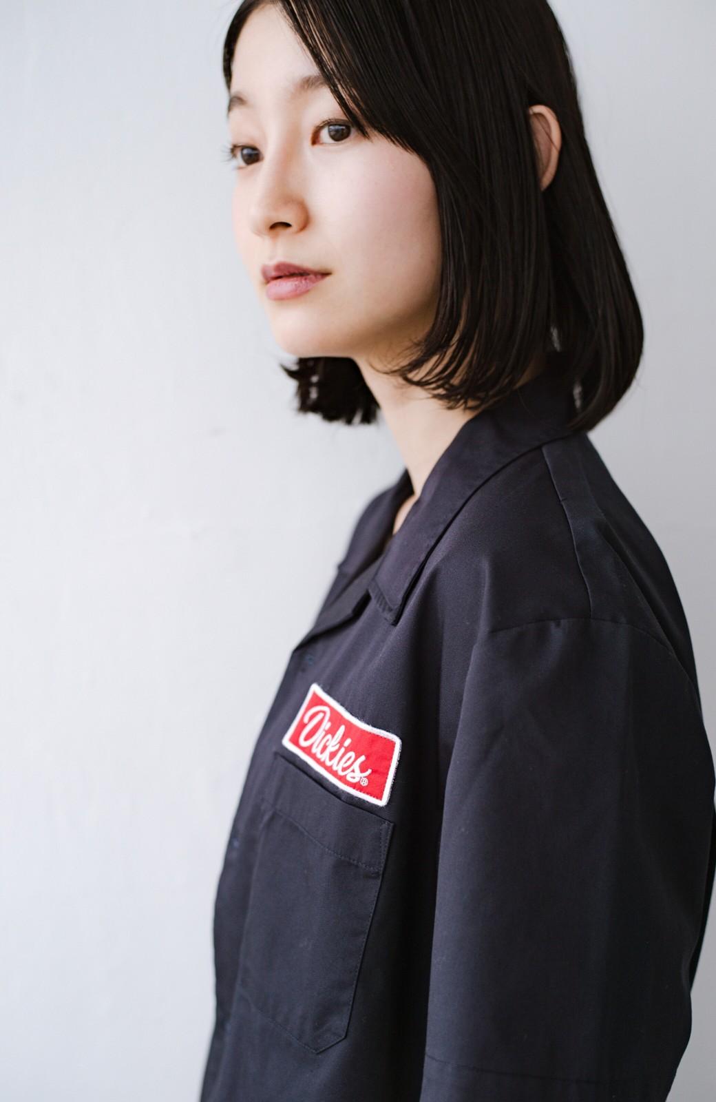 haco! Dickies TCツイルワッペン付きオープンカラーシャツ <ネイビー>の商品写真3