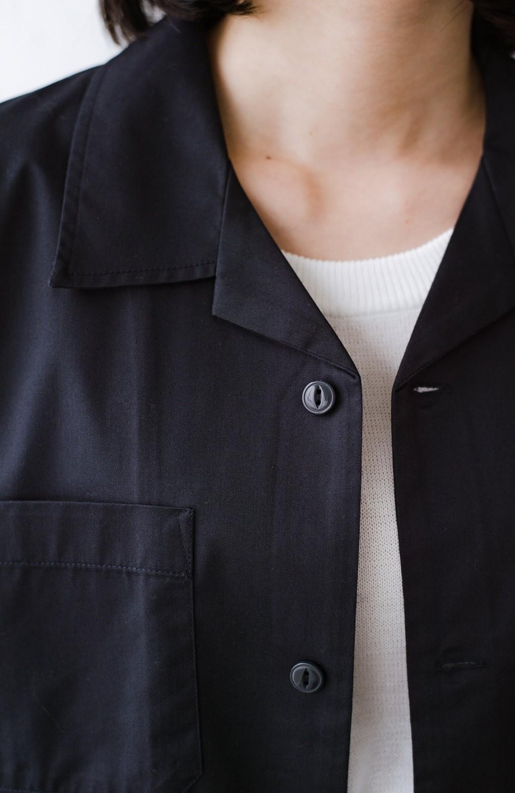 haco! Dickies TCツイルワッペン付きオープンカラーシャツ <ネイビー>の商品写真4