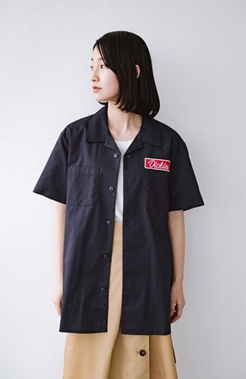 haco! Dickies TCツイルワッペン付きオープンカラーシャツ <ネイビー>の商品写真