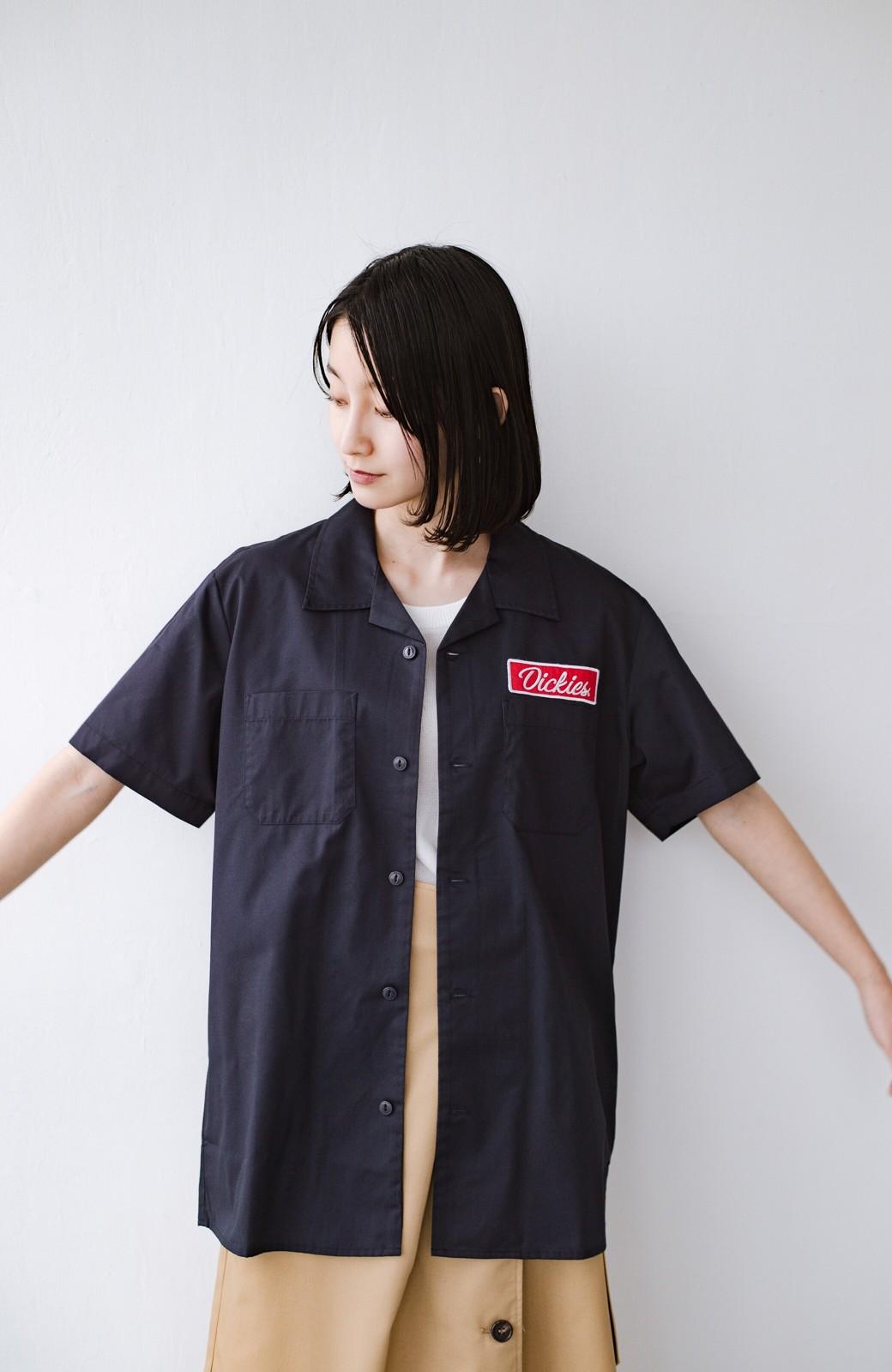 haco! Dickies TCツイルワッペン付きオープンカラーシャツ <ネイビー>の商品写真10