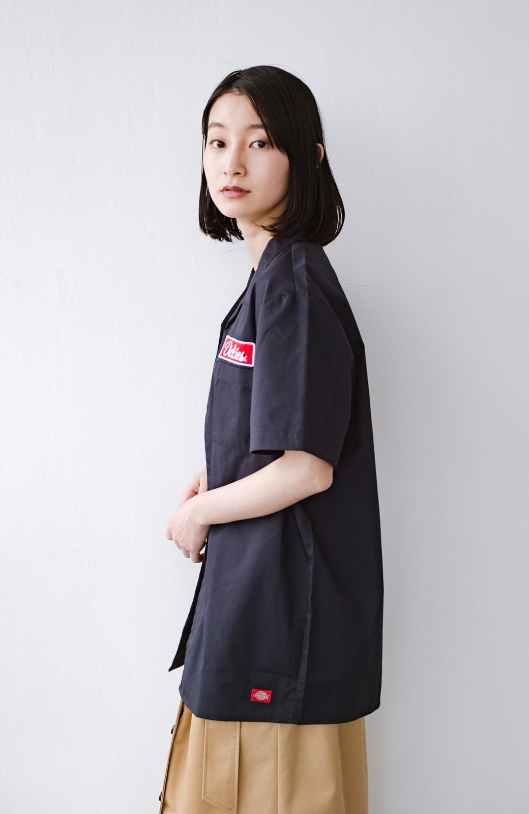 haco! Dickies TCツイルワッペン付きオープンカラーシャツ <ネイビー>の商品写真11