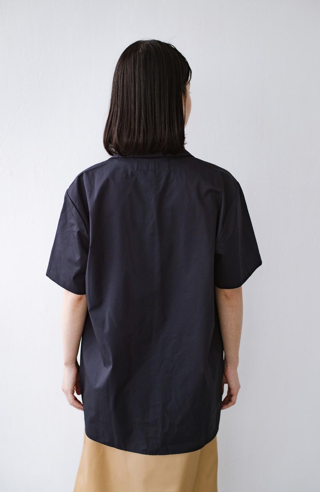 haco! Dickies TCツイルワッペン付きオープンカラーシャツ <ネイビー>の商品写真12