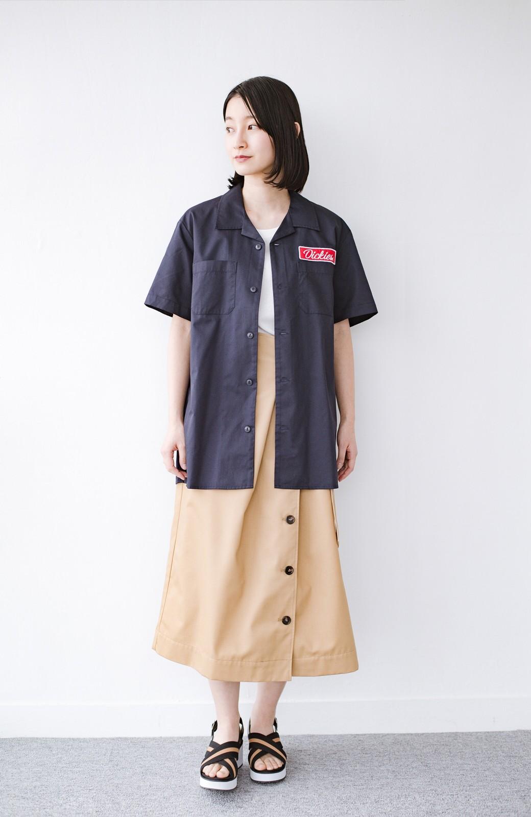 haco! Dickies TCツイルワッペン付きオープンカラーシャツ <ネイビー>の商品写真7