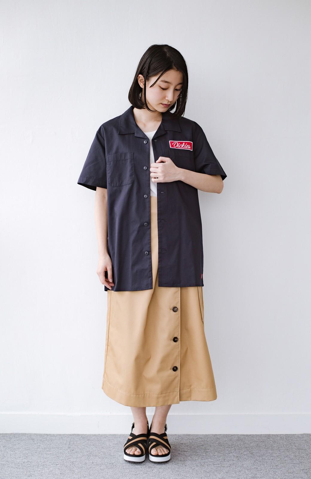 haco! Dickies TCツイルワッペン付きオープンカラーシャツ <ネイビー>の商品写真8