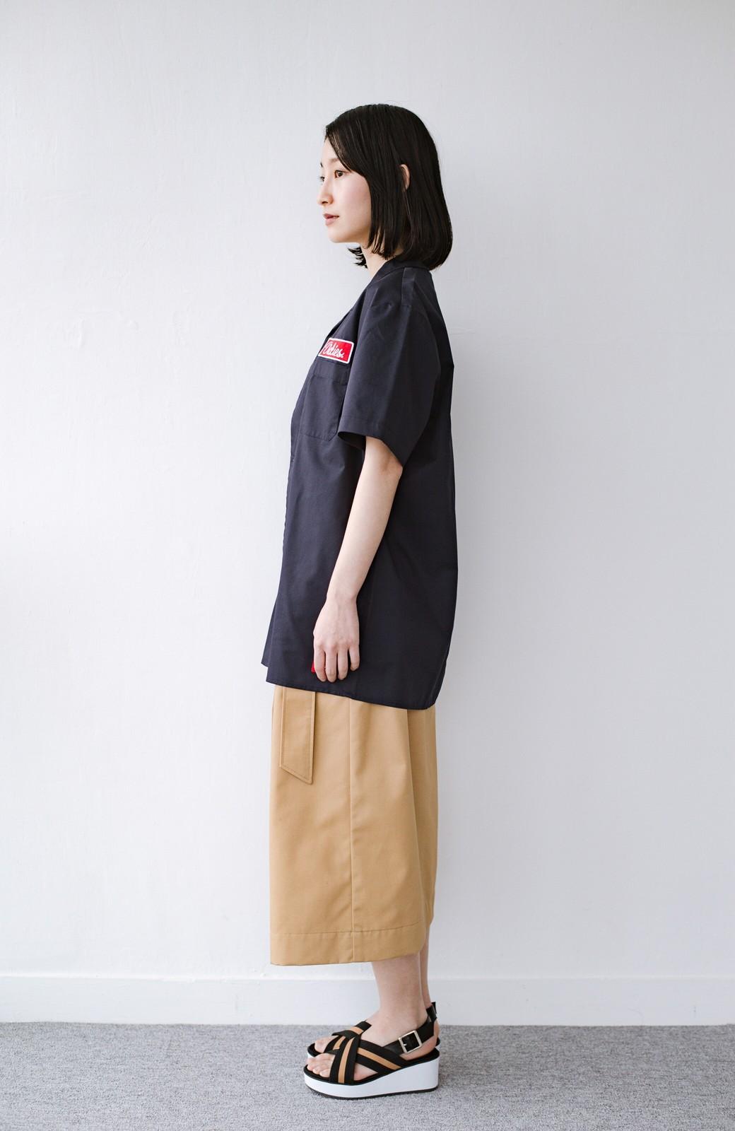 haco! Dickies TCツイルワッペン付きオープンカラーシャツ <ネイビー>の商品写真9