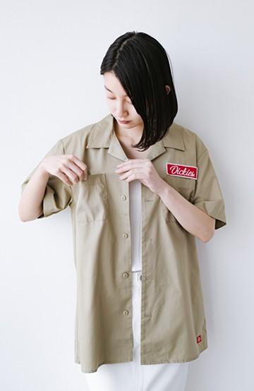 haco! Dickies TCツイルワッペン付きオープンカラーシャツ <カーキ>の商品写真