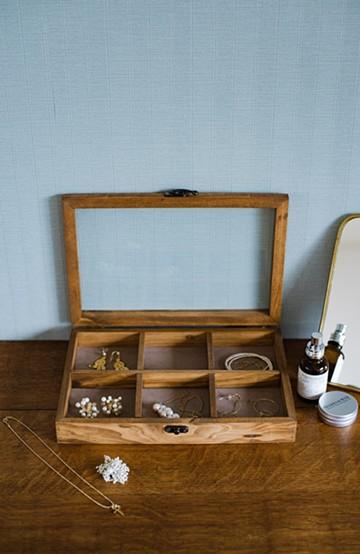 haco! ウッド&ガラスのアクセサリーケース <ブラウン>の商品写真