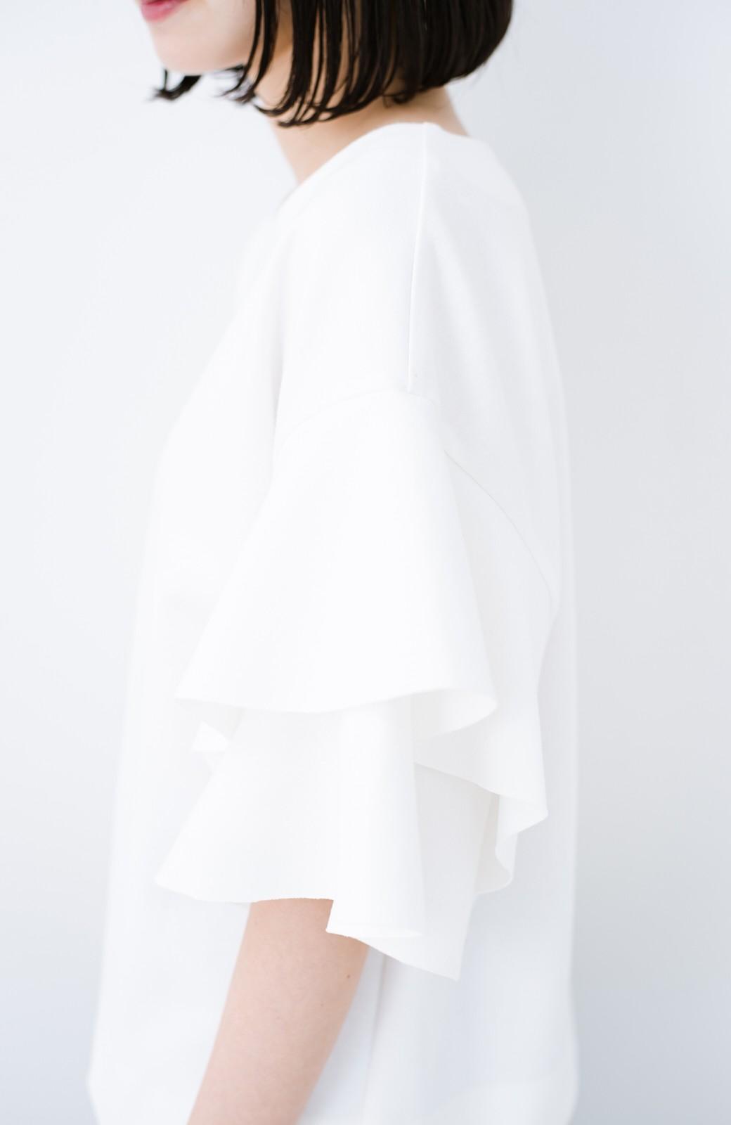 haco! Tシャツ気分でもっとキレイが叶う ラッフルスリーブカットソートップス <ホワイト>の商品写真3