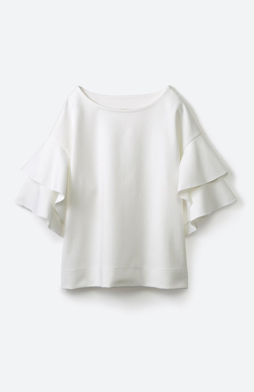 haco! Tシャツ気分でもっとキレイが叶う ラッフルスリーブカットソートップス <ホワイト>の商品写真2