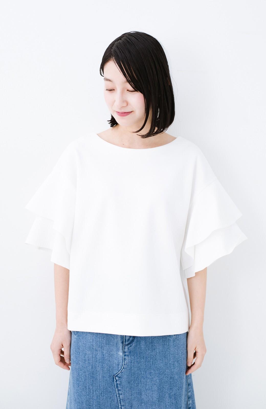 haco! Tシャツ気分でもっとキレイが叶う ラッフルスリーブカットソートップス <ホワイト>の商品写真6