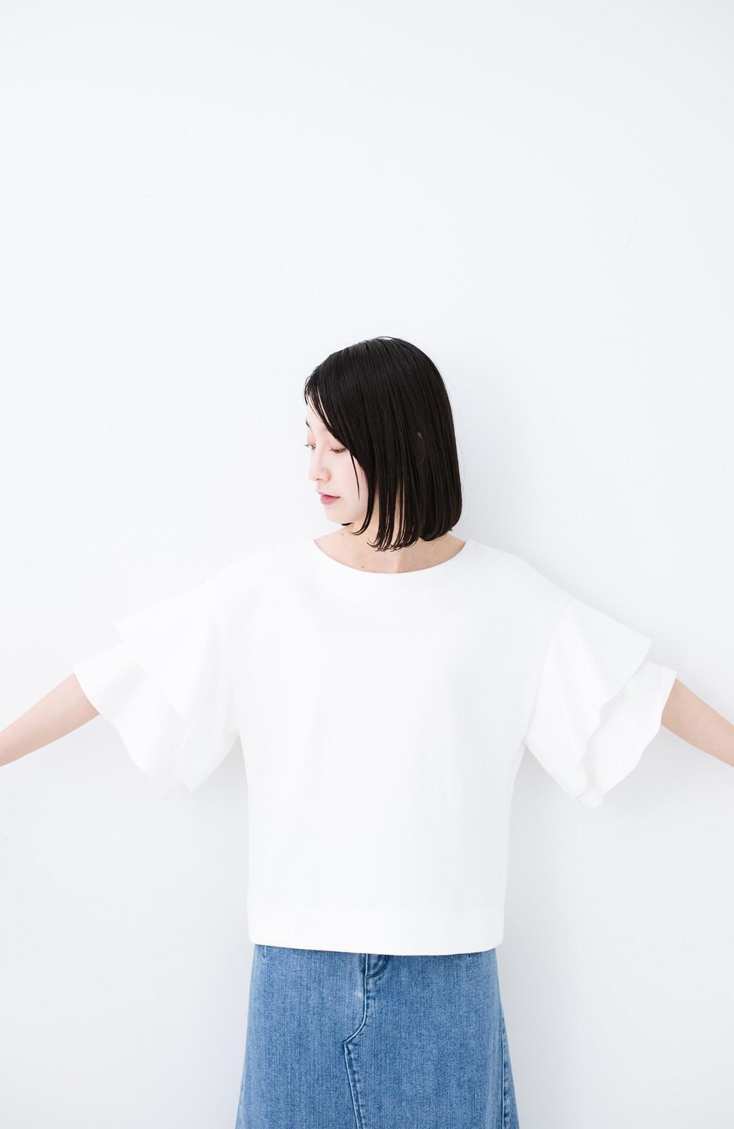 haco! Tシャツ気分でもっとキレイが叶う ラッフルスリーブカットソートップス <ホワイト>の商品写真7