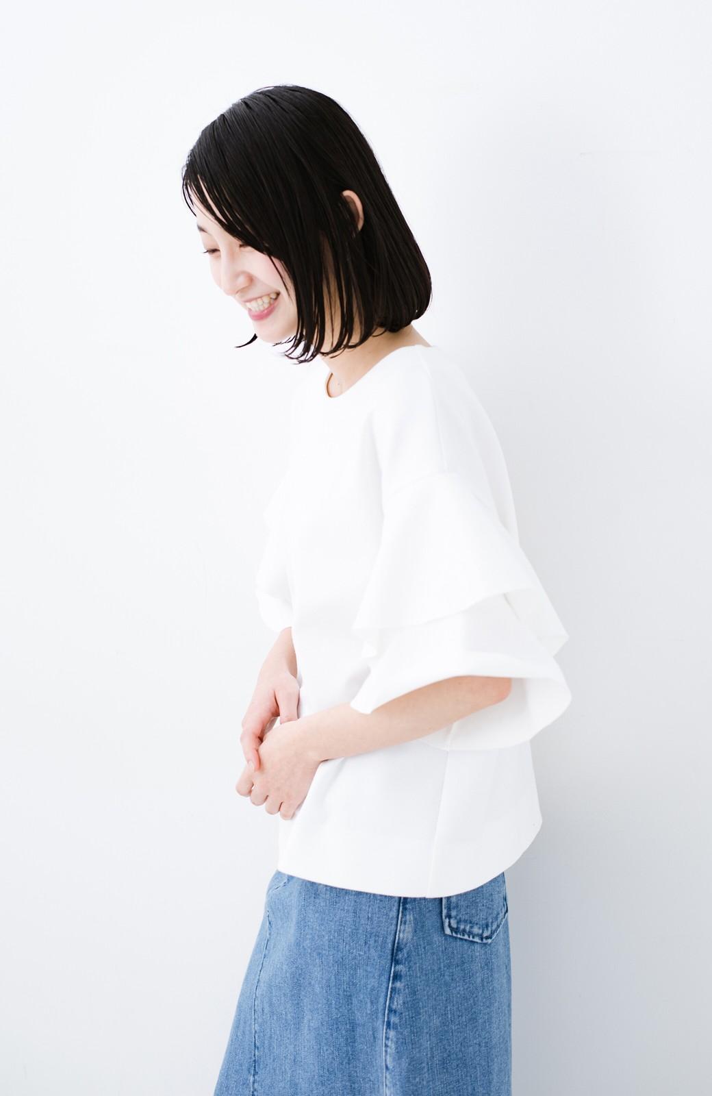 haco! Tシャツ気分でもっとキレイが叶う ラッフルスリーブカットソートップス <ホワイト>の商品写真8