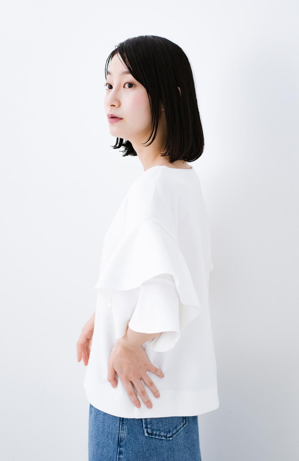 haco! Tシャツ気分でもっとキレイが叶う ラッフルスリーブカットソートップス <ホワイト>の商品写真9