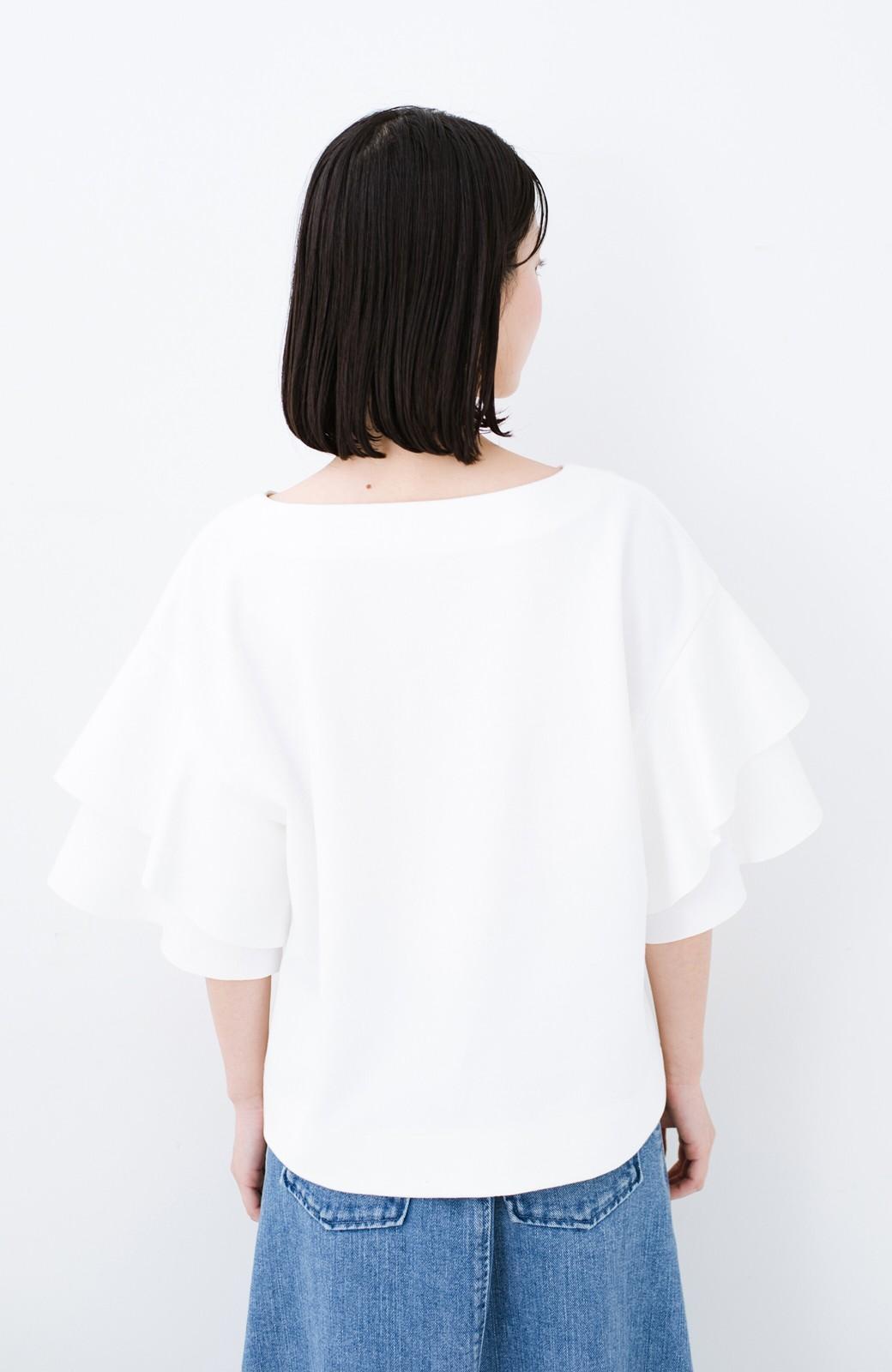 haco! Tシャツ気分でもっとキレイが叶う ラッフルスリーブカットソートップス <ホワイト>の商品写真10