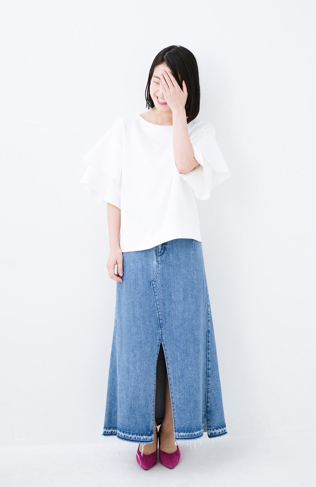 haco! Tシャツ気分でもっとキレイが叶う ラッフルスリーブカットソートップス <ホワイト>の商品写真4