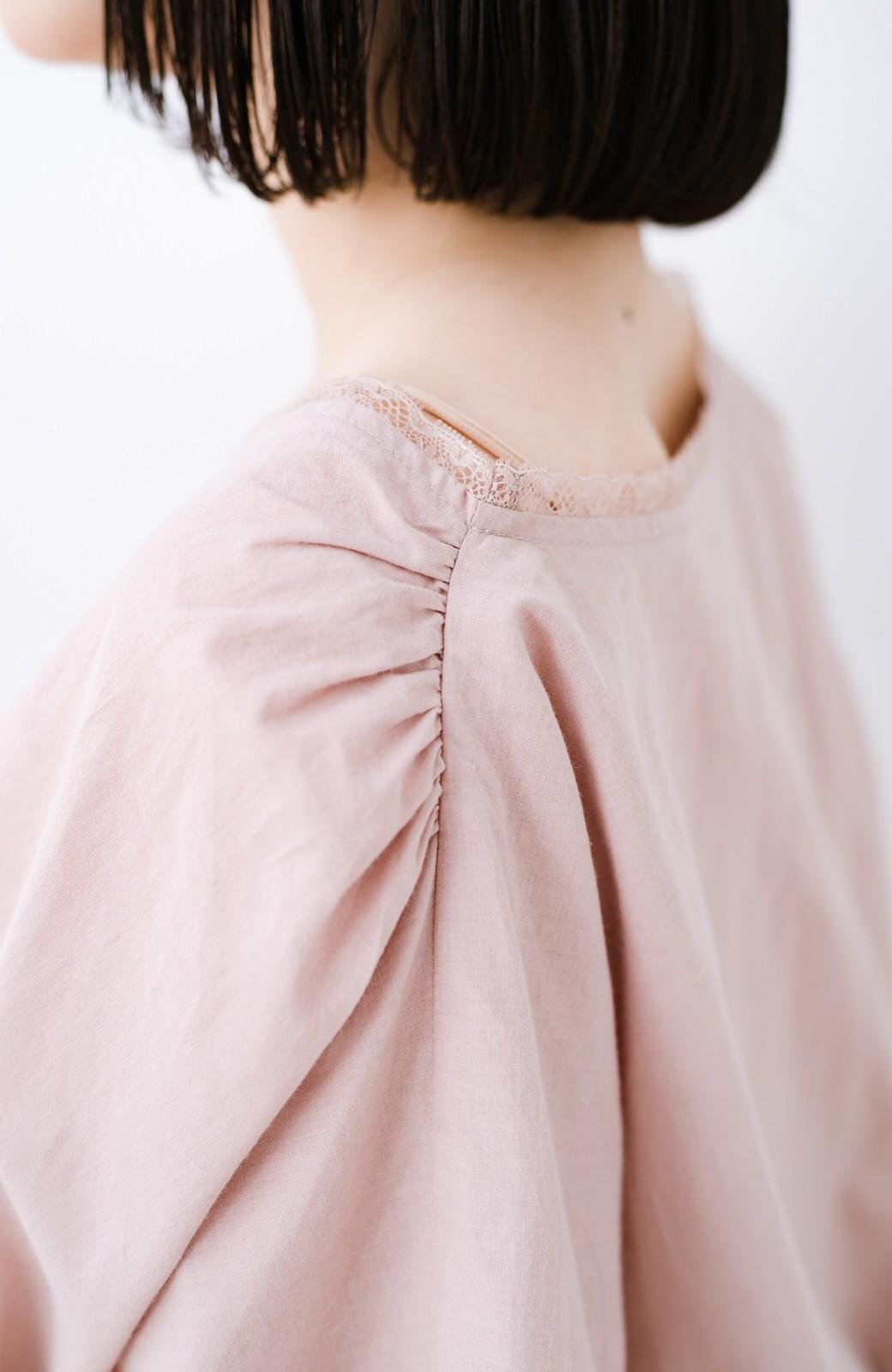haco! ふんわりシルエットで女っぽ レース&異素材づかいブラウス <ピンク>の商品写真5