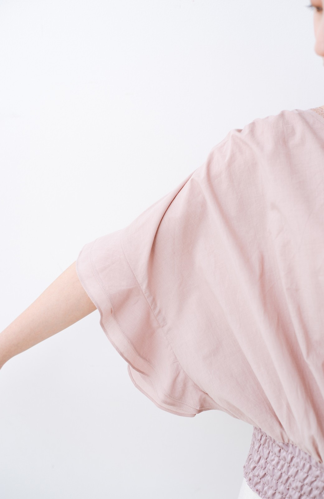 haco! ふんわりシルエットで女っぽ レース&異素材づかいブラウス <ピンク>の商品写真6