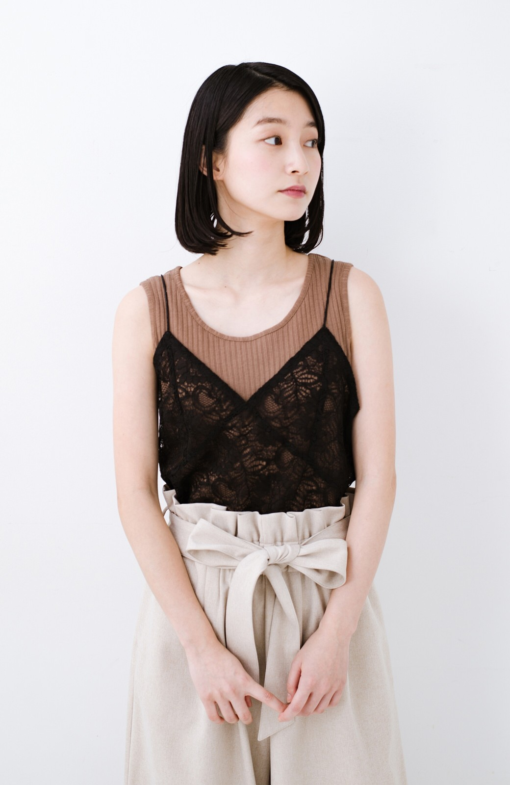 haco! Tシャツを女っぽく着こなせるオトナセットbyMAKORI <チャコールグレー>の商品写真15
