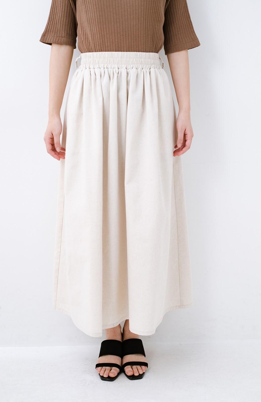 haco! 楽してスタイルが決まる 涼やか麻混スカート <ベージュ>の商品写真5