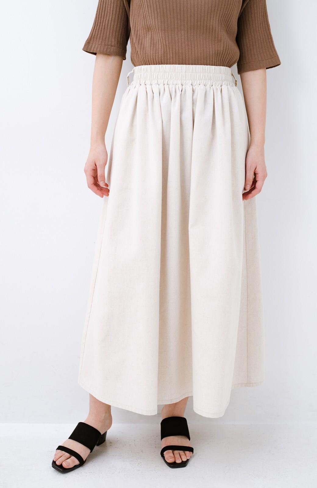 haco! 楽してスタイルが決まる 涼やか麻混スカート <ベージュ>の商品写真1