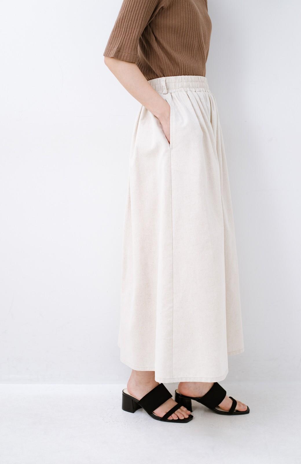 haco! 楽してスタイルが決まる 涼やか麻混スカート <ベージュ>の商品写真7