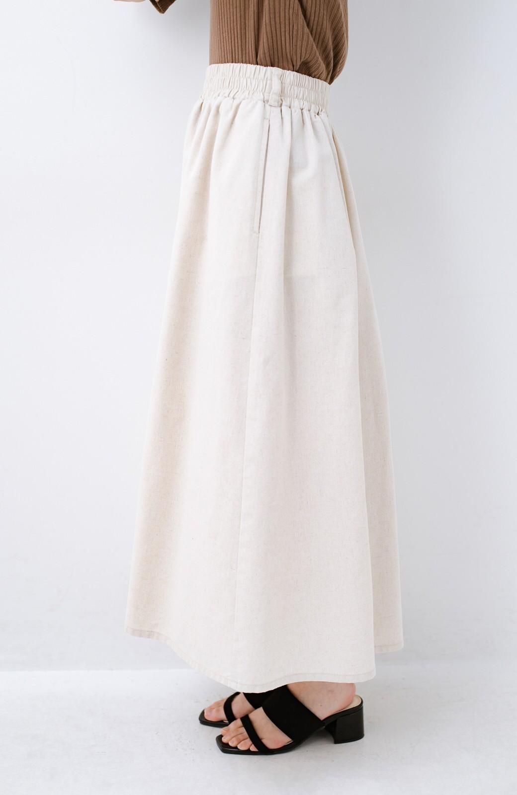 haco! 楽してスタイルが決まる 涼やか麻混スカート <ベージュ>の商品写真8