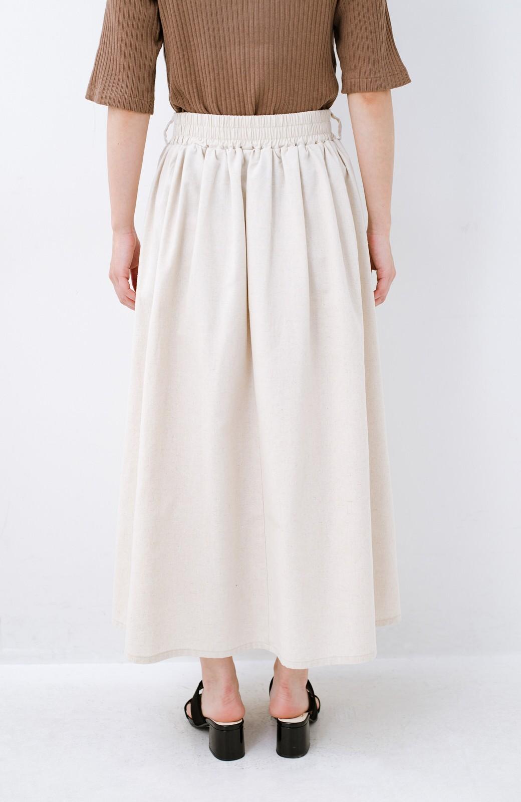 haco! 楽してスタイルが決まる 涼やか麻混スカート <ベージュ>の商品写真9