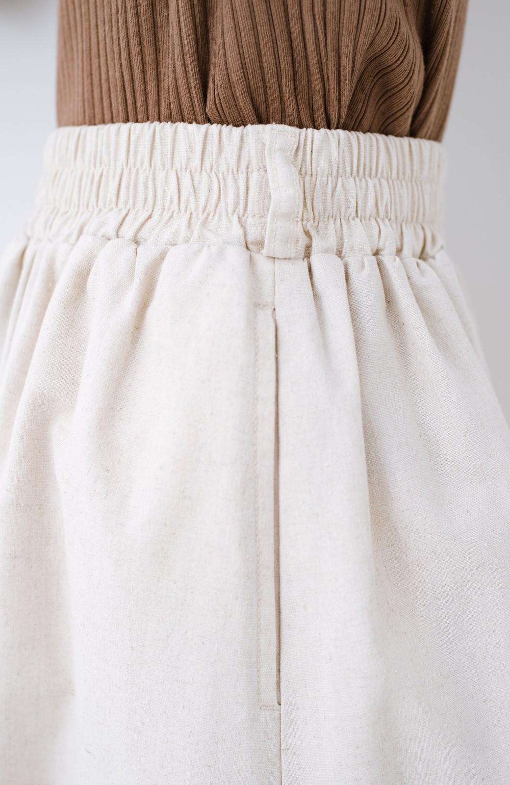 haco! 楽してスタイルが決まる 涼やか麻混スカート <ベージュ>の商品写真6