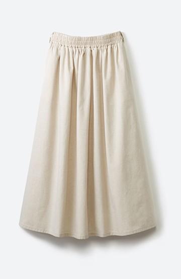 haco! 楽してスタイルが決まる 涼やか麻混スカート <ベージュ>の商品写真