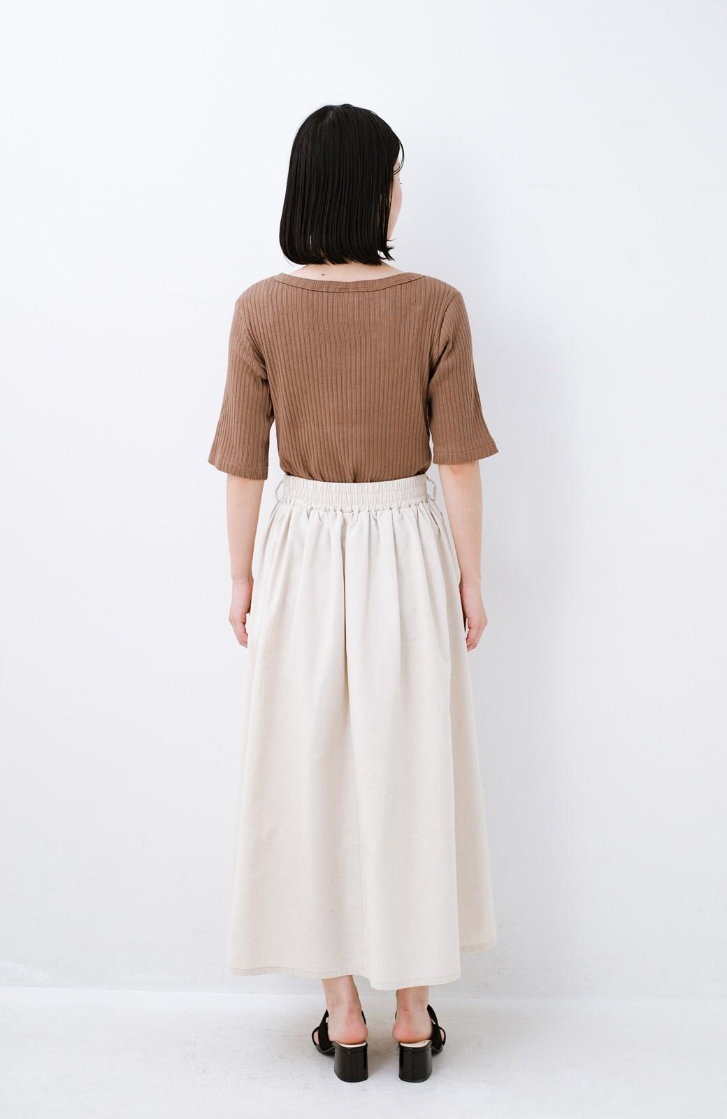 haco! 楽してスタイルが決まる 涼やか麻混スカート <ベージュ>の商品写真4