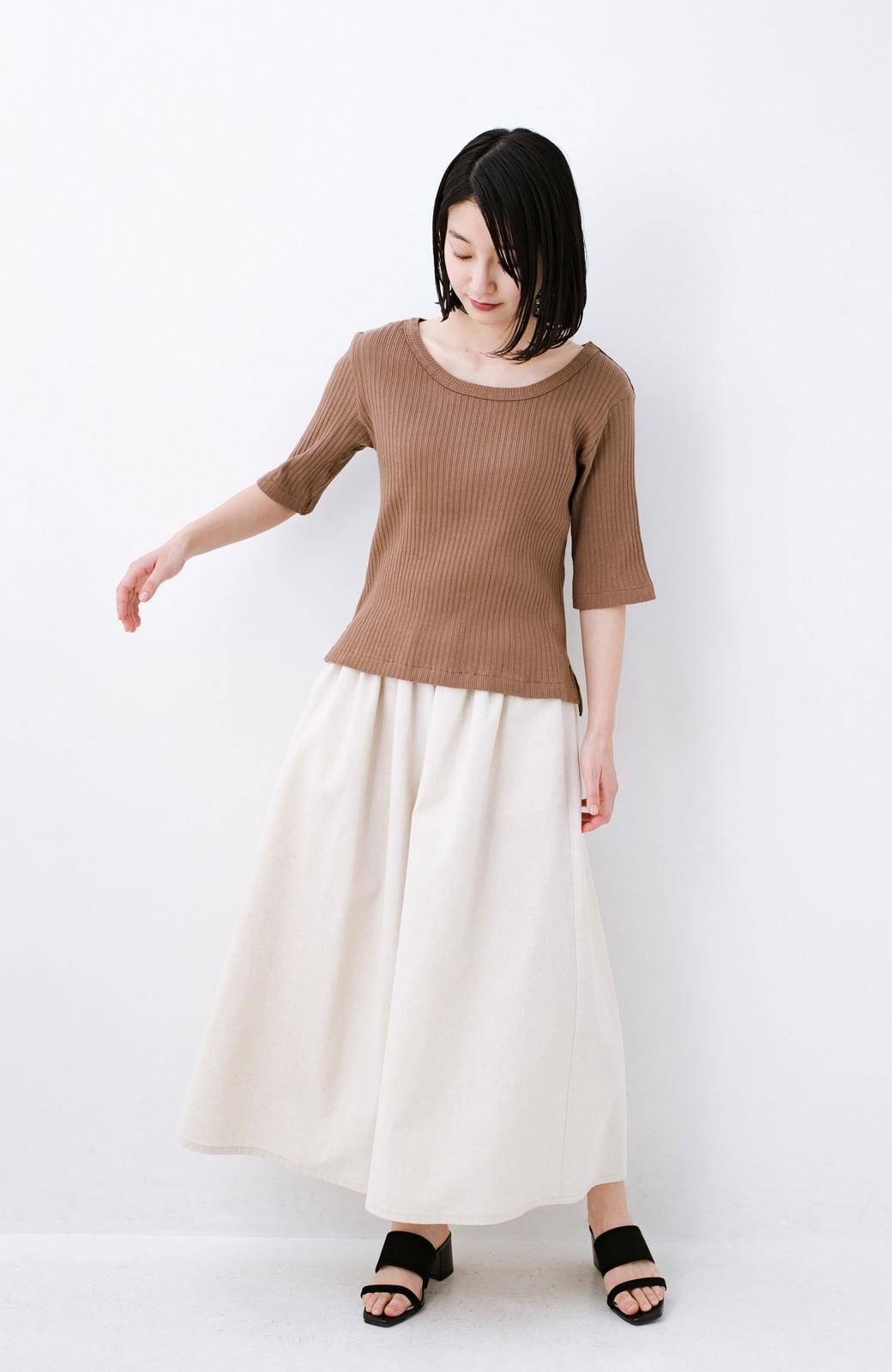haco! 楽してスタイルが決まる 涼やか麻混スカート <ベージュ>の商品写真3