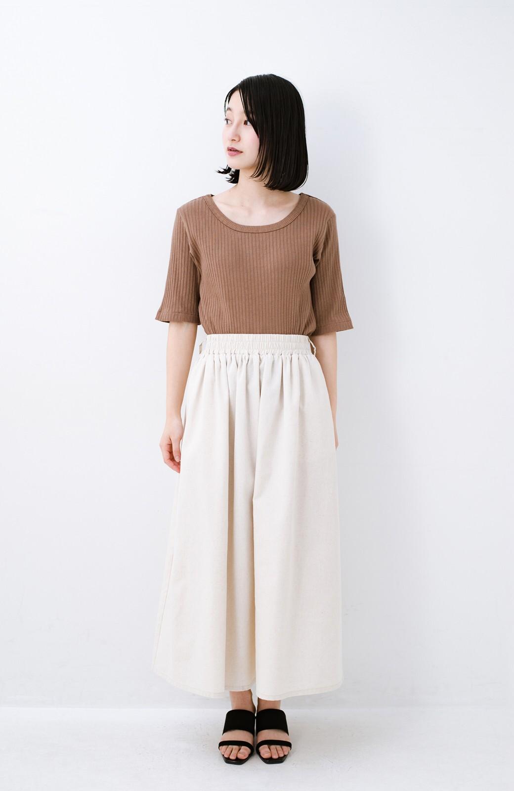 haco! 楽してスタイルが決まる 涼やか麻混スカート <ベージュ>の商品写真11