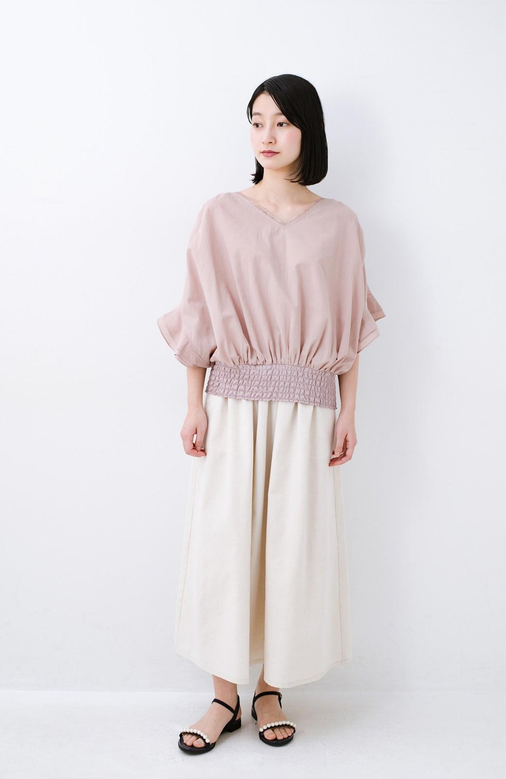 haco! 楽してスタイルが決まる 涼やか麻混スカート <ベージュ>の商品写真12