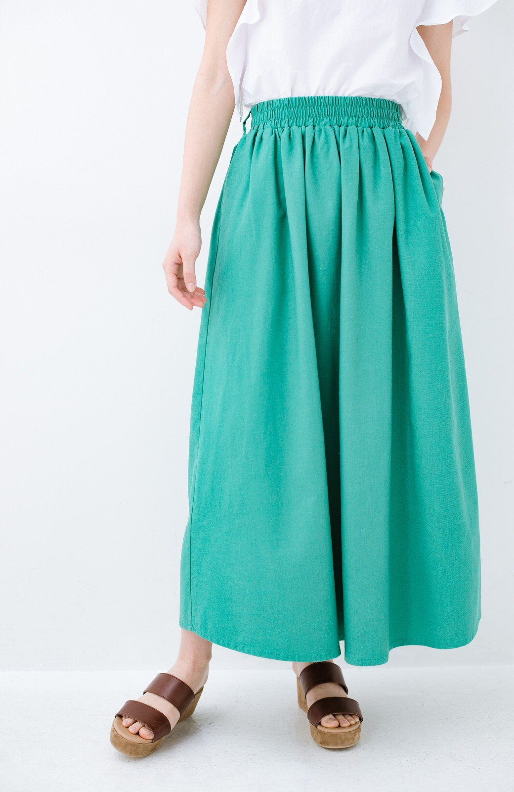 haco! 楽してスタイルが決まる 涼やか麻混スカート <グリーン>の商品写真3