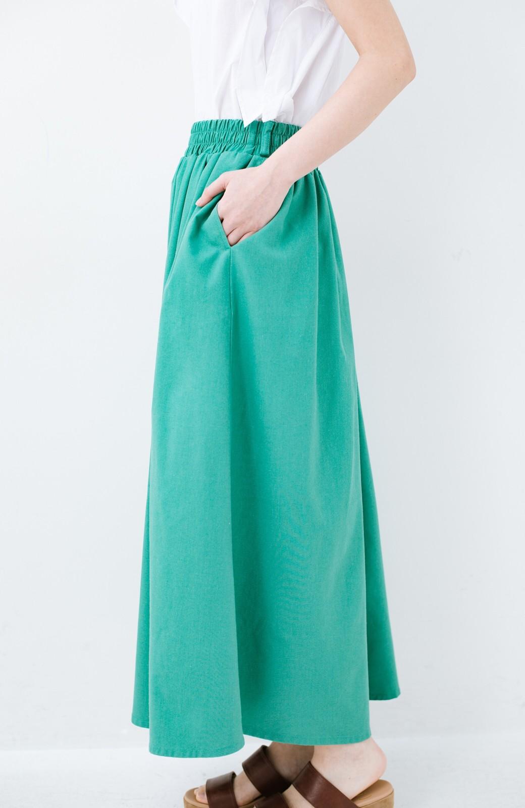 haco! 楽してスタイルが決まる 涼やか麻混スカート <グリーン>の商品写真4