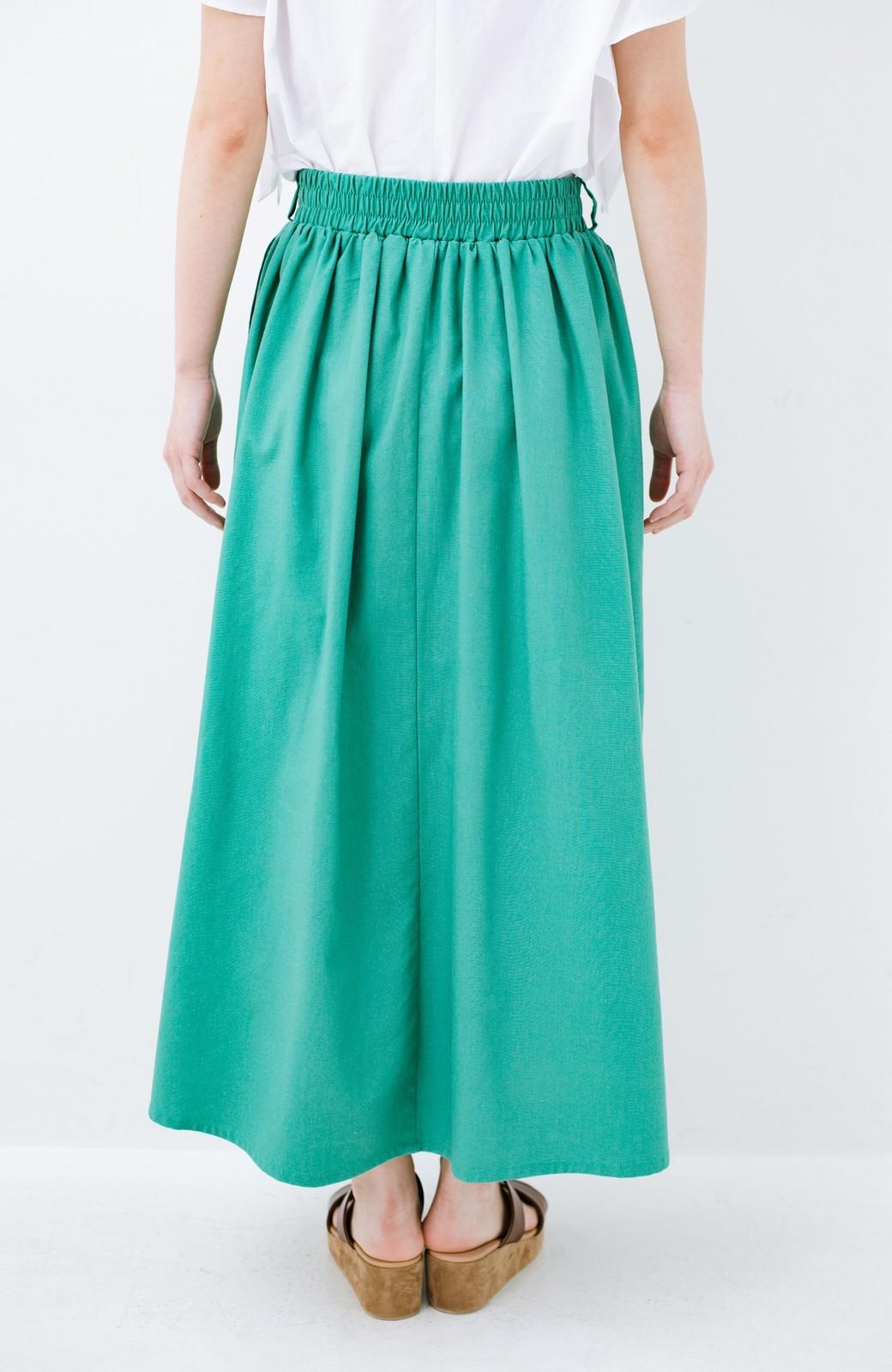 haco! 楽してスタイルが決まる 涼やか麻混スカート <グリーン>の商品写真5