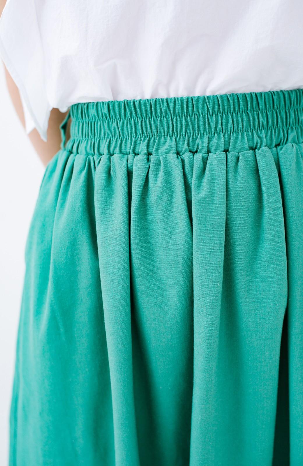 haco! 楽してスタイルが決まる 涼やか麻混スカート <グリーン>の商品写真6