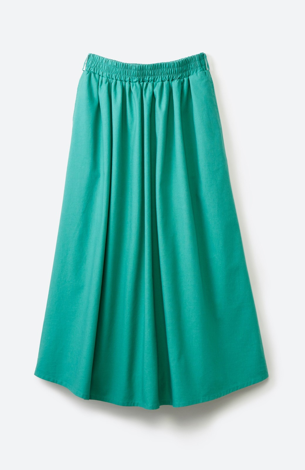 haco! 楽してスタイルが決まる 涼やか麻混スカート <グリーン>の商品写真2