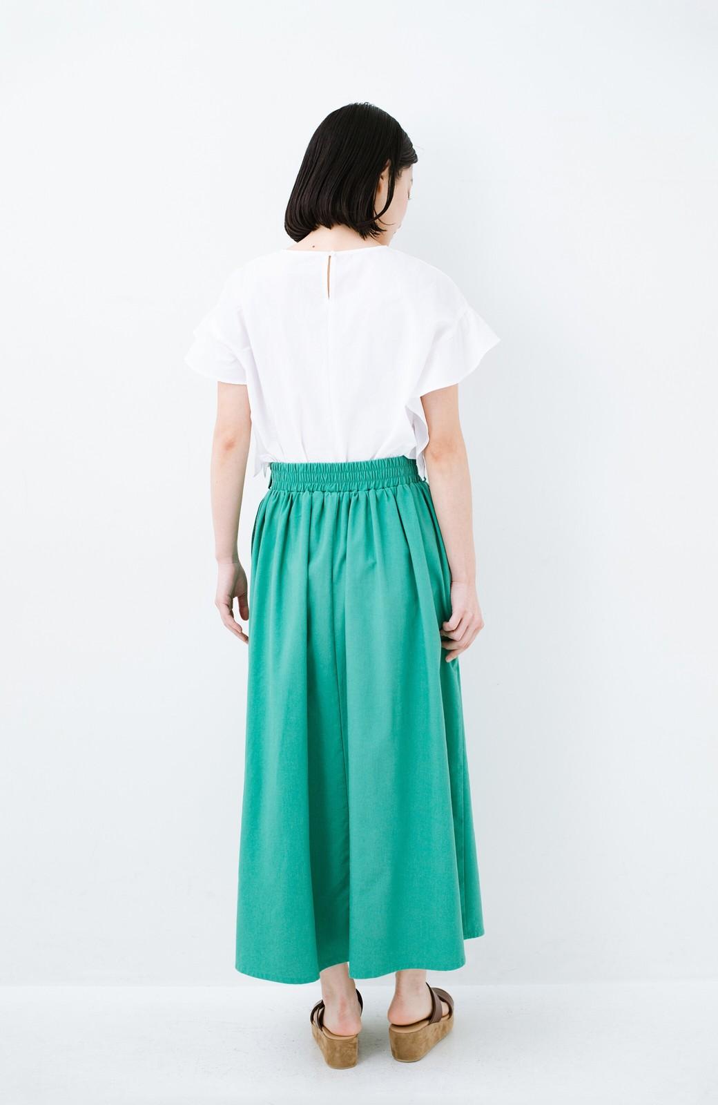 haco! 楽してスタイルが決まる 涼やか麻混スカート <グリーン>の商品写真12
