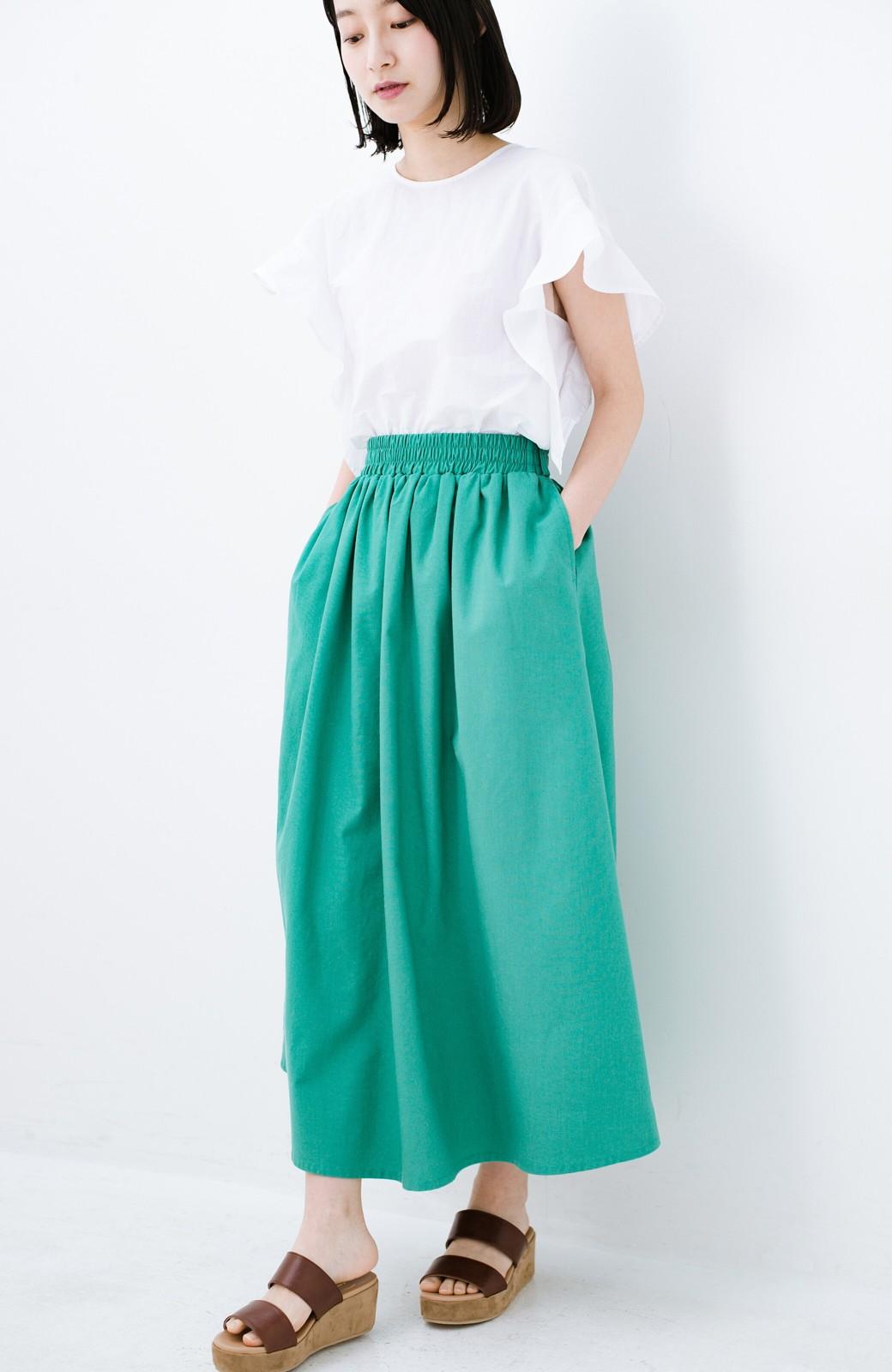 haco! 楽してスタイルが決まる 涼やか麻混スカート <グリーン>の商品写真1