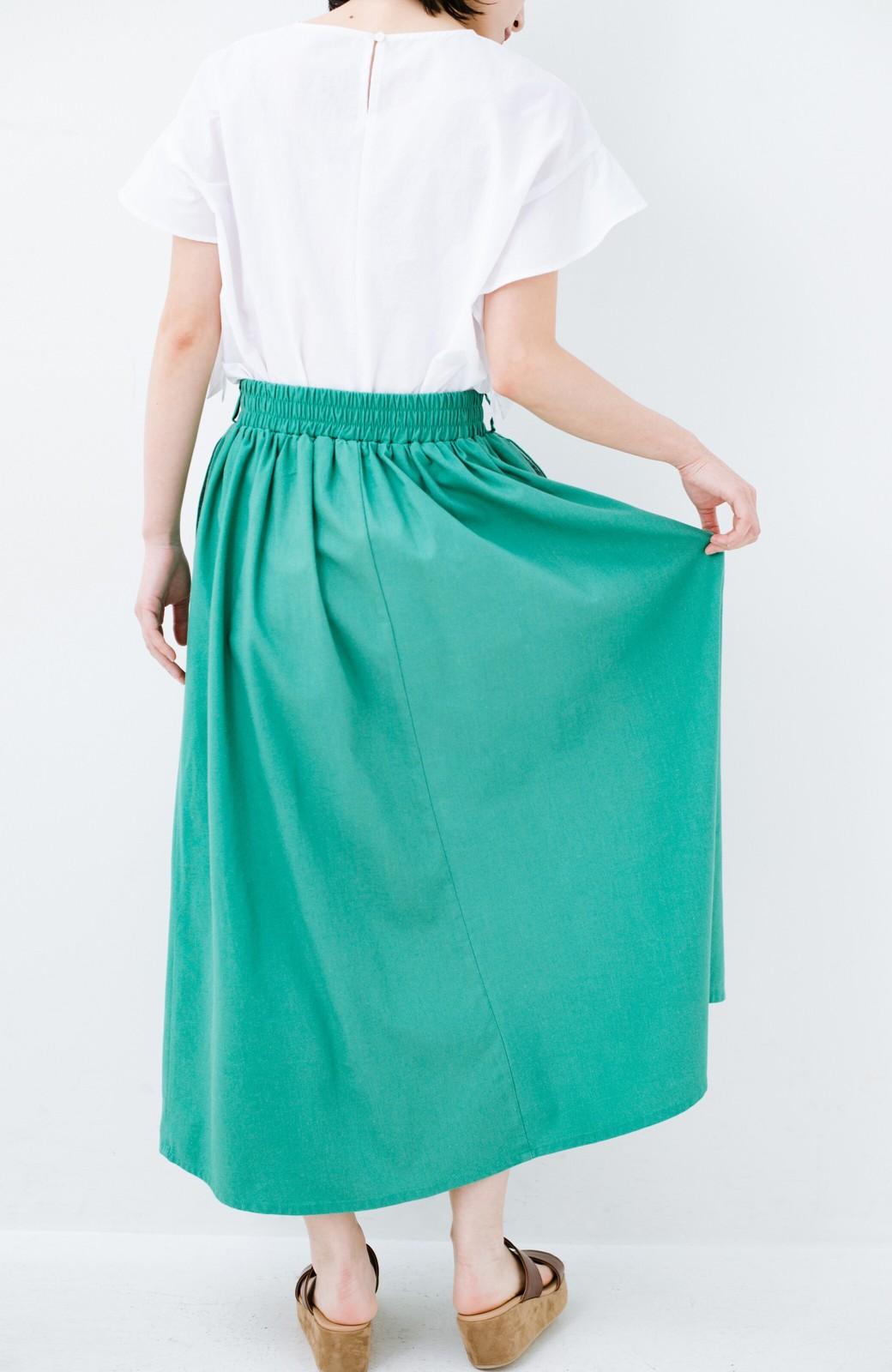 haco! 楽してスタイルが決まる 涼やか麻混スカート <グリーン>の商品写真13